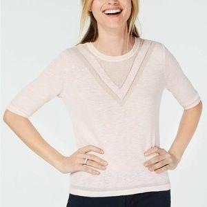 Maison Jules Pink Crewneck Varsity Sweater